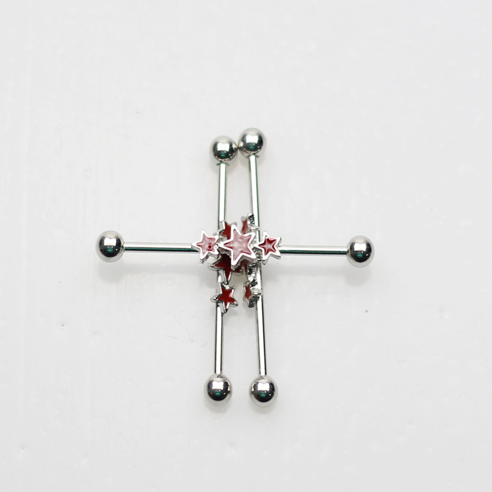 30pcs/lot free ship hot industrial barbell long ear jewelry printed red star body piercing(China (Mainland))