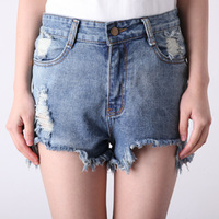 Vintage style fashion loose hole high waist denim shorts plus size