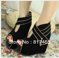 2013 Summer Black Sandals Boots No Heel Shoe Spike Peep Toe Comfortable Pumps for Women Army Green Platform Shoes Girl Wedge