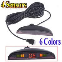 6 colors Car parking Sensor LED Parking Reverse Backup Radar System with Backlight Display 4 Sensors free shipping Wholesale