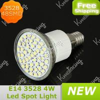 Wholesale E14 48LED 3528 SMD Led Spot Light  4W High Power LED Spotlight Bulb Pure White/Warm White Free Shipping