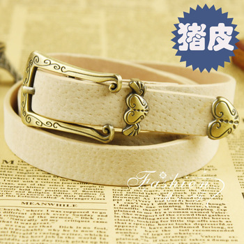 Little angel vintage buckle pigskin women's fashion strap decoration belt