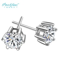 "Hot sale ""Poshfeel"" brand fashion jewelry Genuine 925 sterling silver zircon crystal female earrings women"