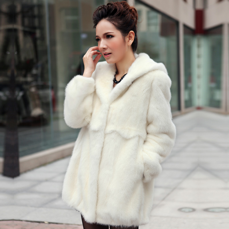 2013 mink female fur marten coat white overcoat hooded medium-long 1106(China (Mainland))