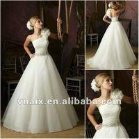 W0152 Grecian Flower One Shoulder Organza 2012 Fabulous Wedding Dress
