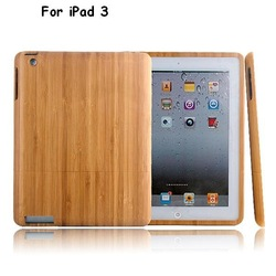 100% Real Nature Wood Wooden Bamboo Hard Case Cover For iPad 3 Tablet Newest free shipping, 3 designs available(China (Mainland))