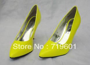Free shipping 2013 wholesale cheap women's spring platform shows fluorescence color rubber soles high heel wedding shoes(China (Mainland))