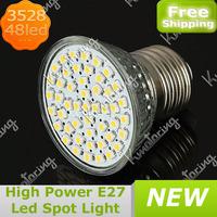 Wholesale 85~265V E27 48 SMD 3528 Led 2.5W High Power LED Downlight Spot Light Bulb Pure White/Warm White Free Shipping