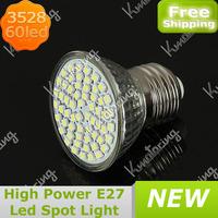 Wholesale E27 3528 SMD 60 Led 5W  85~265V High Power LED Light Downlight Spot Light Bulb Pure White/Warm White Free Shipping