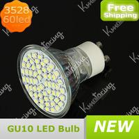 Wholesale New GU10 85~265V 3528 SMD 60 LED Bulb Spot Light 3W LED  Spotlight Bulb Pure White/Warm White Free Shipping