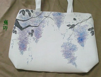 Chinese style . canvas bag . wisteria shoulder bag .