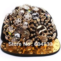 2013 New Fashion Punk Hip-hop Spikes Rivets Studded Button Skull Adjustable Cap Hat 100% )Quality