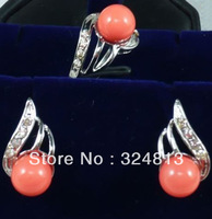 Charming!Pink Coral Earring Ring Set