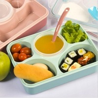 Microwave oven heated lunch box sealed crisper leak proof lunch box set with spoon and a bowl