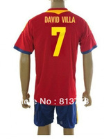 new 13-14 Spain  7# DAVID VILLA  T-SHIRT soccer jersey  home red  brand t-shirt  jerseys cheap hot sell