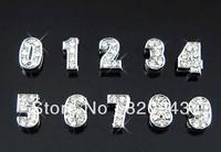 Wholesale 100pcs 8mm Slide Number 0-9 DIY Rhinestone-Slide Charms Fit Pet collar or Wrist band etc