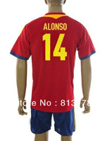 new 13-14 Spain 14# ALONSO T-SHIRT soccer jersey  home red  brand t-shirt  jerseys cheap hot sell