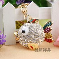 2014 New Ring Llaveros Chaveiro Fashion Jewelry Cartoon Top Shine Fish Car Keychain Women Rhinestone 18k Plated Bag Buckle Gift