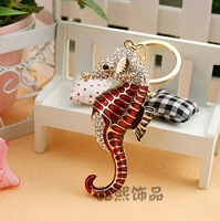 2015 Special Offer Car Keychain Ring Llaveros Fashion Crystal Sea Horse Pendant Women 18k Plated Animal Bag Buckle Gift Jewelry