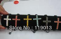 Christmas Fashion Jewelry Shamballa Bracelet, wax cord & rhinestone zinc alloy beads,cross design