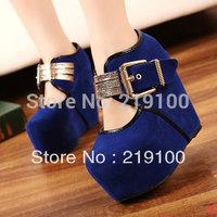 2014 HOT SALE spring and autumn high platform wedges single shoes women's pump metal hasp ultra high heels velvet shoes