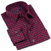 2013 new arrival Factory direct shirt ,autumn/spring men's cotton mandarin collar red grid shirt.Free shipping!