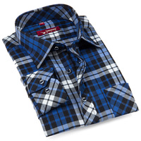 2013 new arrival Factory direct shirt ,autumn/spring men's cotton mandarin collar blue grid shirt.Free shipping!