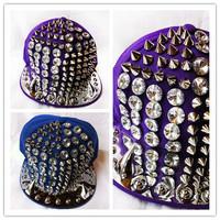 free shipping 2013 designer fashion Man Women Kid Spike Studs Rivet Cap Hat Punk Rock Hiphop flat OX horn rhinestone crystal