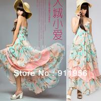 Free Shipping New Fashion V neck Floral dress Bohemian style Maxi Chiffon Long dress fashion pretty summer clothing for lady 207