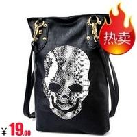 Free shipping 2013 brief suede exquisite serpentine pattern skull rivet one shoulder cross-body women's handbag