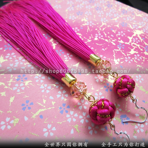 Chinese knot design long tassel earrings the bride hair accessory lantern earrings marriage accessories earring(China (Mainland))