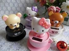 2013 New arrival Cute solar nodding  rilakkuma Bear Hello Kitty  Car Accessories car inner decoration  Wholesale 20pc Lot(China (Mainland))