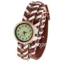 Quartz Watch with Numbers Indicate Round Dial Dots Patterned Leather Watch Band for Women (Dark Brown)