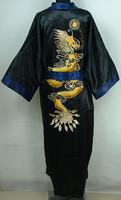 Navyblue Black Reversible Two-face Men's Satin Embroider Robe Kimono Gown Sleepwear with Dragon
