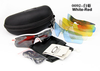 2013 Mens Sports UV400 High Quality Cycling Sunglasses One Polarized Lens Four PC Lens Box Free Shipping 0092 White-Red  Frame