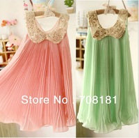 FREE SHIPPING! 2013 NEW ARRIVAL! new spring and summer fashion chiffon toddler girl dresses,Sequin,Fold,beautiful girls clothing
