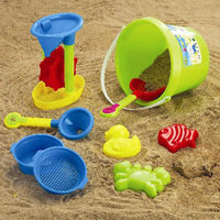 Beach toy 13 pieces/beach bucket hourglass/ sand toy