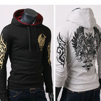 Free shipping men's tattoo print hooded sweater jacket top brand men's high quality casual sweater S-XL