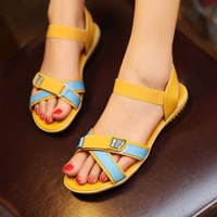 2013 new arrival shoes cow muscle flat heel outsole elastic strap sandals beauty shoes s051303 free shipping