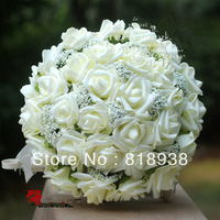2014 Real Wall Mounted Rose Hot !!!!cortex Simulation Flower Wedding Ivory Color Free Shipping 30 Roses