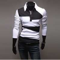 Korean long-sleeved shirt of Paul's fashion color matching Tee T-shirt  freight free 9546