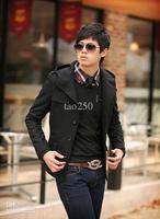 Men Fashion Slim fit Woolen Short Trench Coat Jacket 4 Size 2014