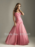 Charming  Mermaid Tiered Neck Off the Shoulder Sleeveless Beading Satin Fashion Zip up Back Evening Dress ENS17+Free Shipping