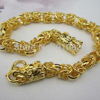 24k Yellow gold filled fretwork dragon design bracelet Filigree chain GF jewelry men womens 20cm long