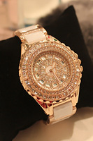 quality brand diamond full rhinestone ceramic strap watches women fashion luxury rose gold watch popular Christmas gift items