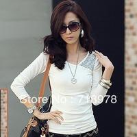 Wholesale 2013 new Korean version of Women casual short-sleeved women's O-neck T-shirt  free shipping