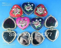 Heart Shaped Compact Mirror Favors Silk Embroidered Double Side 35 pcs/lot mix color Free