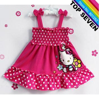 2013 New Arrive Toddlers Summer Cartoon Dress Baby Girls Hello Kitty Jumper Dress Dot Children Clothes Free Shipping