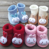 Child cartoon baby thickening thermal baby rabbit style cotton shoes a66