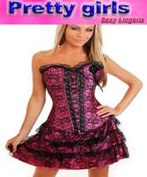 fashion corset dress size s,m, l, xl, xxl,  white corset+G-string+skirt+flower, free shipping m1605f